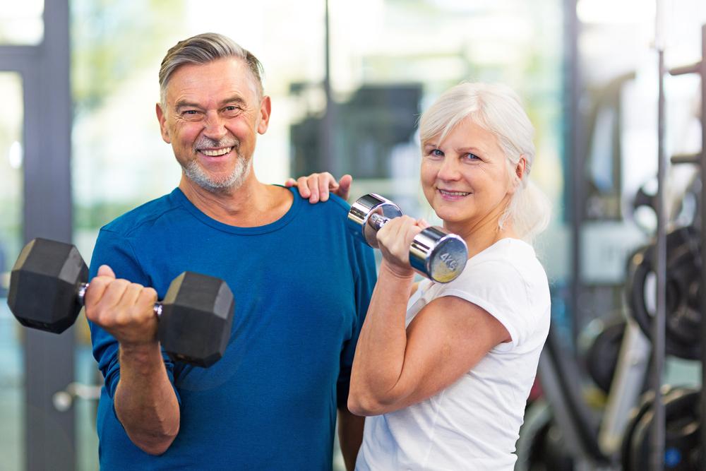 Senior Couple doing strength training
